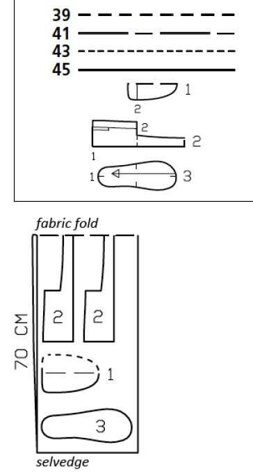 Шьем комнатные теплые тапочки. Выкройка в натуральную величину (7) (364x678, 59Kb)