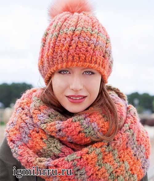 шапочка и шарф крупной вязки