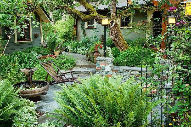 Сады с водоемом, фонтаном и водопадом