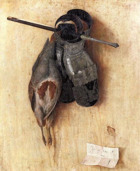Якопо де Барбари - Вид с куропаткой, латной руковицей и арбалетным болтом, 1504г Тот самый первый натюрморт, о которым я говорил выше.