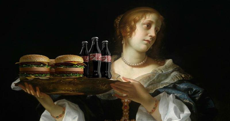 «Ваш бургер, Мадонна»: герои полотен Ренессанса поглощают горы фастфуда