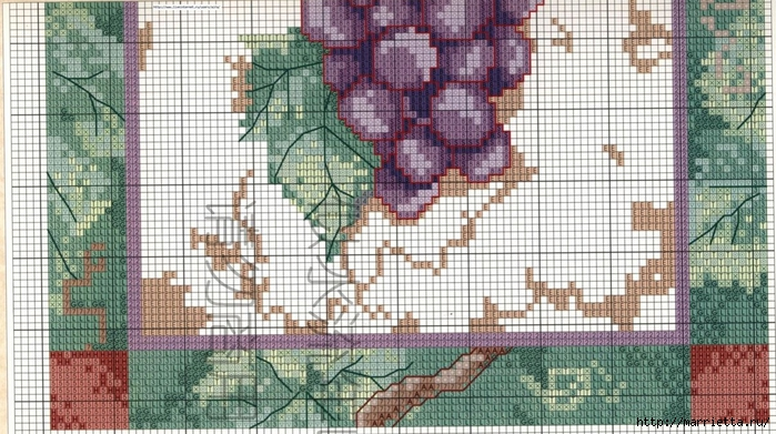 Виноградная лоза. Схемы вышивки крестом (7) (700x391, 304Kb)