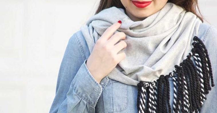 Как сделать стильный трикотажный шарф за 15 минут