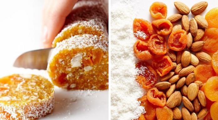 Очень вкусно и мега полезно: Десерт из кураги и миндаля