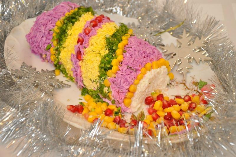 """Салат """"Хлопушка"""" задаст настроение любому празднику! Вкусный, оригинальный и безумно красивый!"""