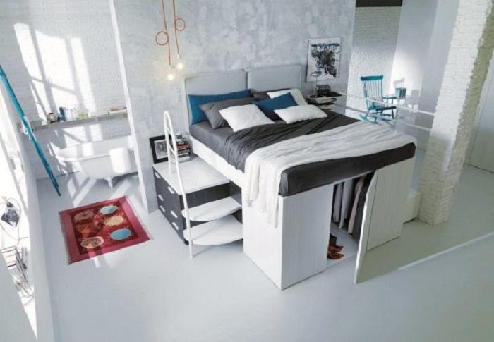 Прекрасный вариант преобразить спальню при помощи оптимальных решений.