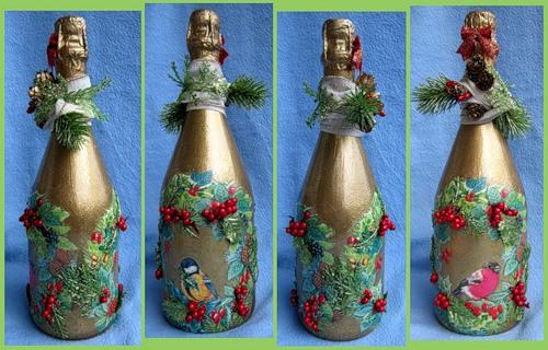 Новогодний декор бутылок своими руками