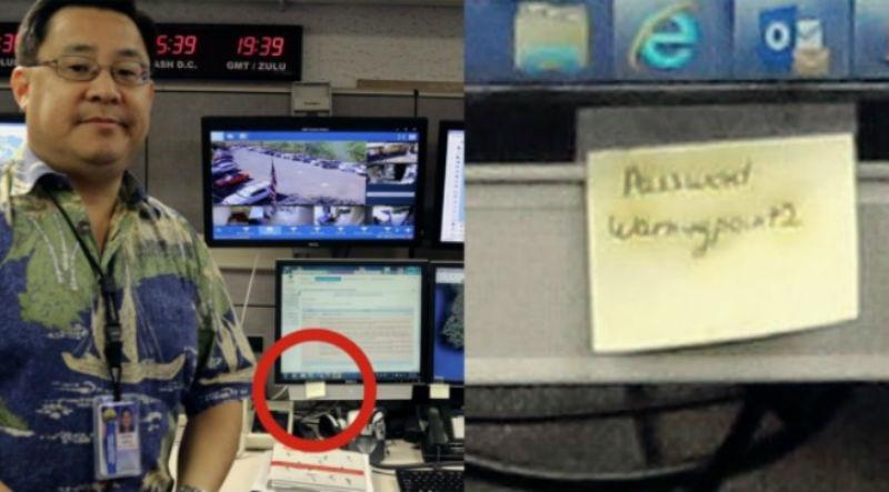 Гавайское агентство по чрезвычайным ситуациям, которое рассылало ложные оповещения о ракетном ударе, хранило пароль на стикере на мониторе