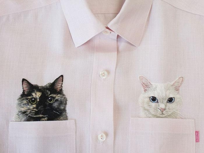 Карманные котики: чудесные вышивки от дизайнера