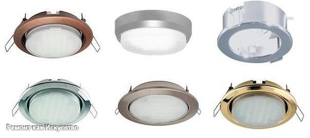 Монтаж светильников для натяжного потолка.
