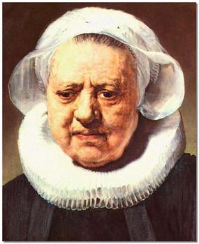 Рембрандт. Портрет женщины в крахмальном воротничке и чепце.