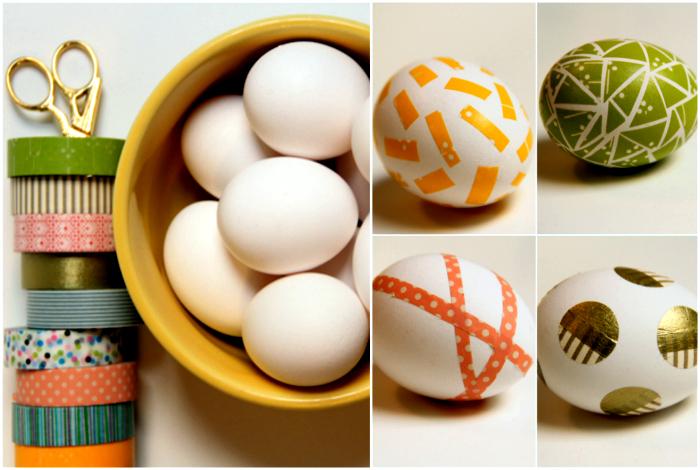 Яйца, декорированные цветным скотчем.