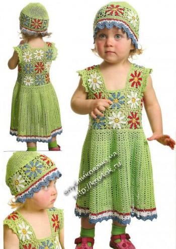 фото ажурного платья и шапочки для девочки
