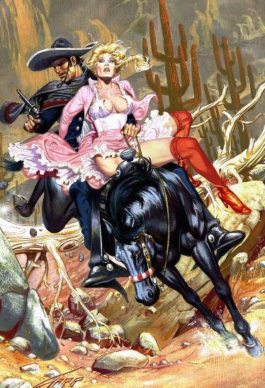 Горячие иллюстрации Рафаэля Галлура. Ну, никак тут не обойтись без оружия и красоток!
