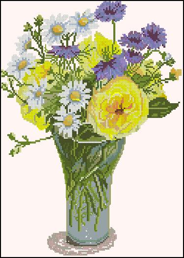 Схема вышивки «Букет цветов в вазе»