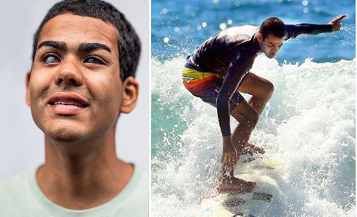 «Я чувствую океан»: Абсолютно слепой парень покоряет огромные волны, на которые не решаются зрячие профессионалы
