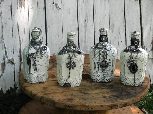 Еще один вариант оформления бутылок в винтажном стиле