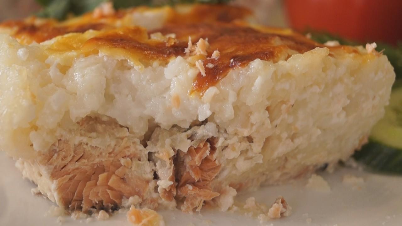 Запеканка с рыбой и рисом в духовке рецепт пошаговый