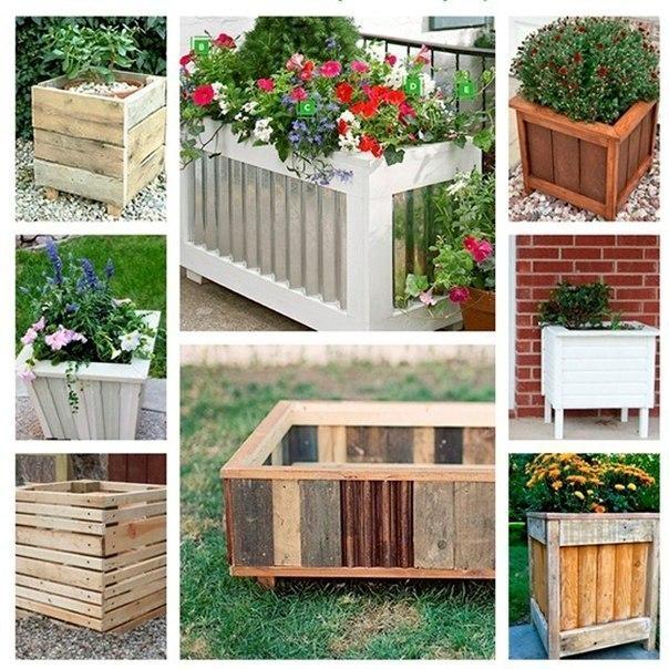 Идеи цветочных контейнеров из дерева