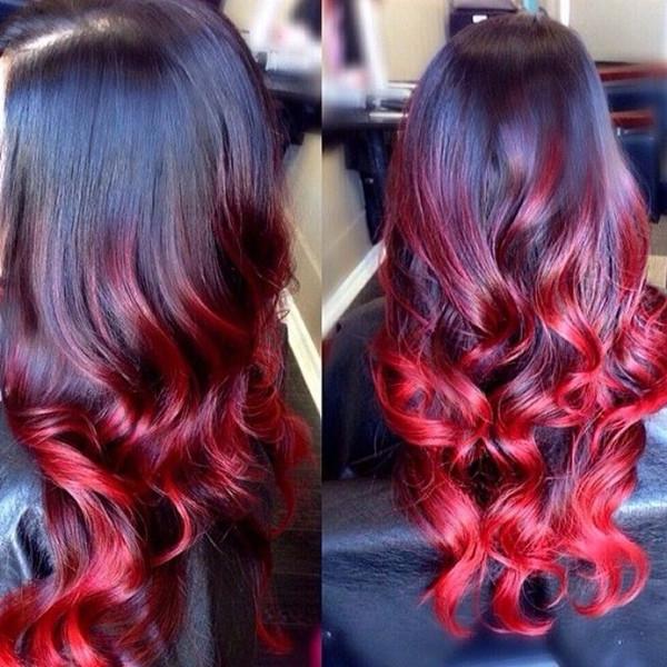 Амбре окрашивание волос красный цвет