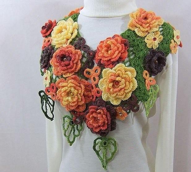 Вязание палантина с розами 187