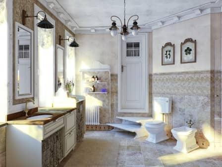 Интерьер ванной комнаты в стиле прованс