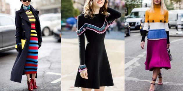 Модные платья 2019 года с вязаными элементами