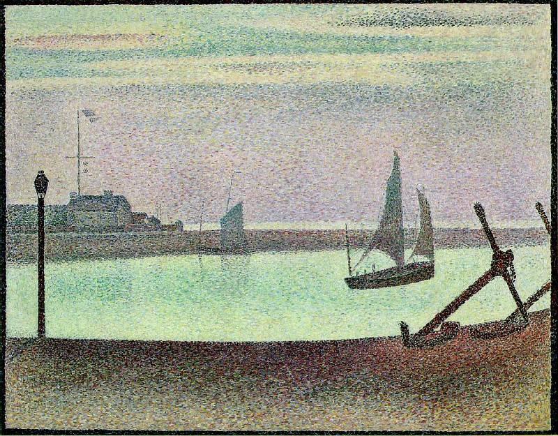 Seurat The Channel at Gravelines, Evening, 1890. Сера, Жорж