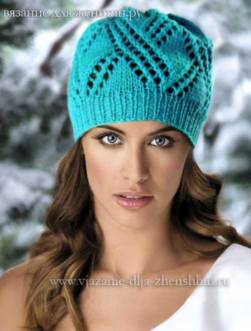 Симпатичная шапочка спицами