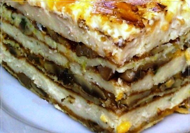 Оригинальное праздничное блюдо — Куриный торт в чесночном соусе