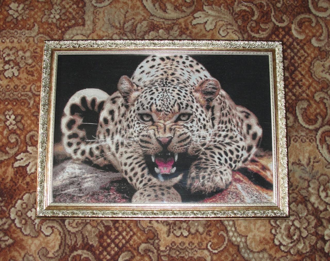 Вышивка крестом — леопард