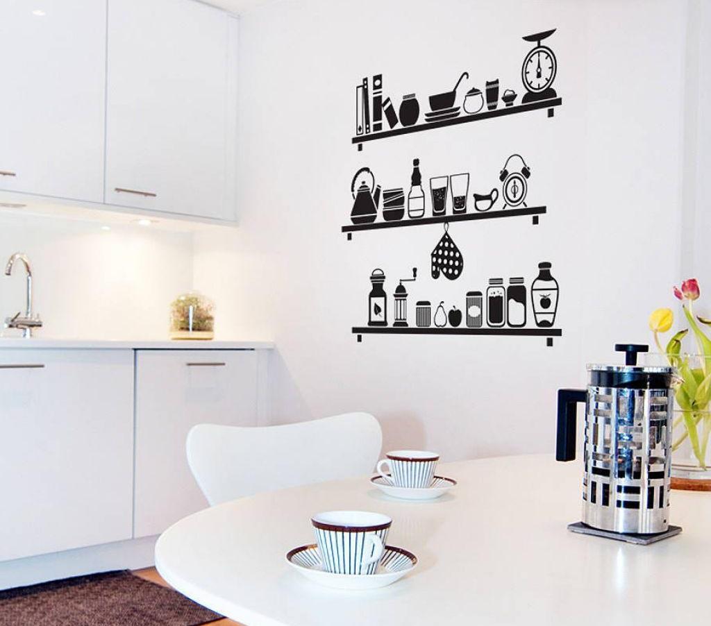Оформление стен кухни наклейками