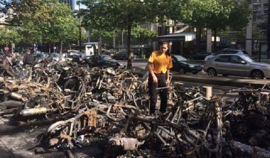 В Париже злоумышленники сожгли 56 мотоциклов