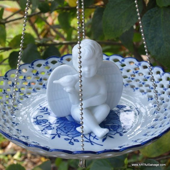 Glass Bird Feeder Angel Cherub Blue Lacey vintage repurposed hanging