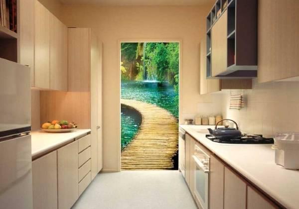 3D фотообои в интерьере кухни - природа