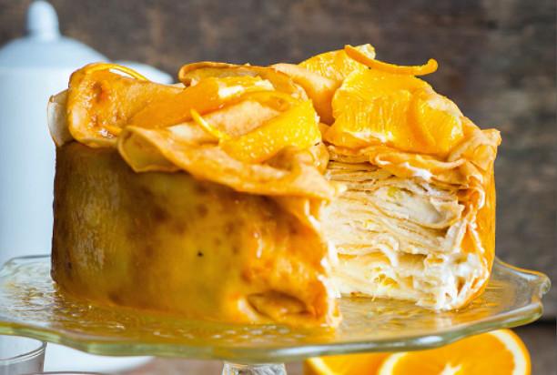 Провожаем Масленницу красиво! Блинный торт с апельсинами