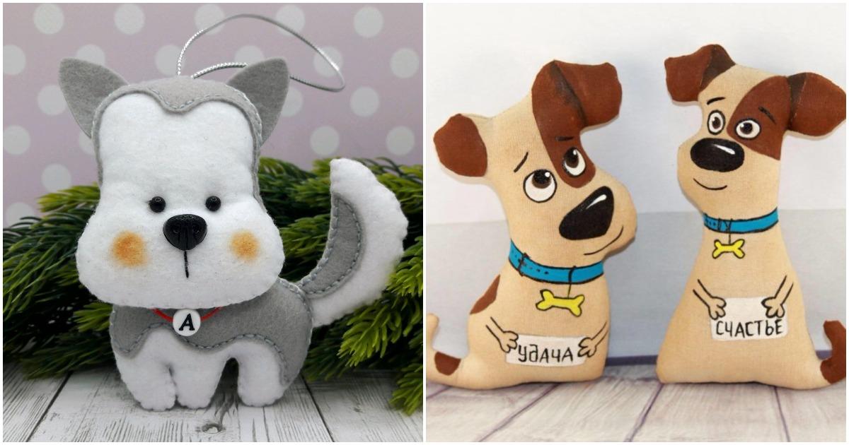 Интересные идеи новогодних поделок в виде собаки