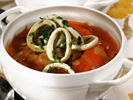 фото к рецепту супа с кальмаром