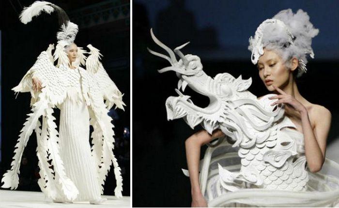Высокая мода по-китайски: платья-скульптуры с драконами
