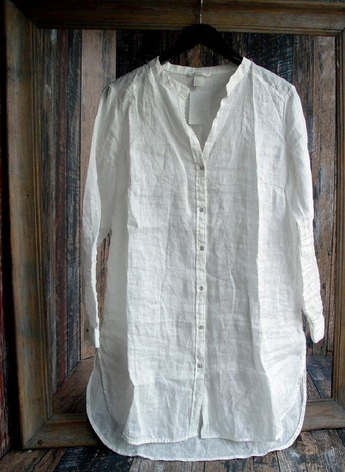 Переделка рубашки - умелица взяла в руки рубашку, краски и 11 лоскутков шириной 7 см