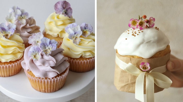 засахаренные цветы на торт