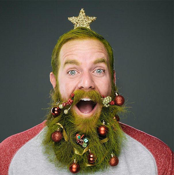 17. Праздничная борода волосы, праздник, прическа, рождество