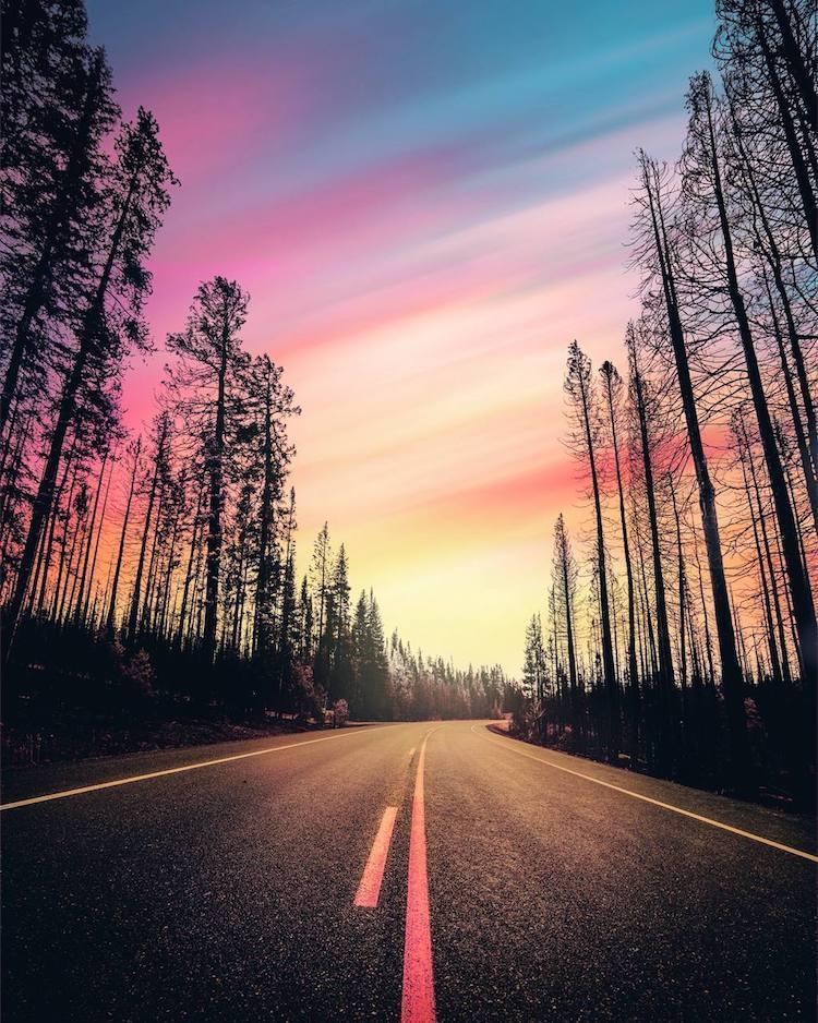 Пейзажи в розово-фиолетовых тонах