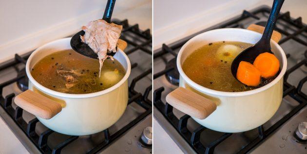 Как варить курицу бульон