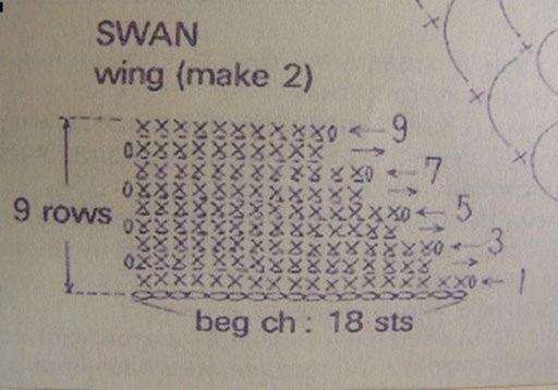 схема вязания лебедя крючком
