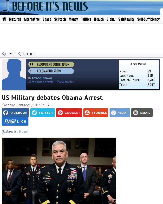 Американские военные обсуждают возможный арест Обамы