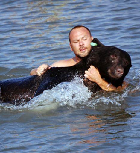 Медведь тонул в воде. От того, что сделал этот мужчина, бросает в пот.