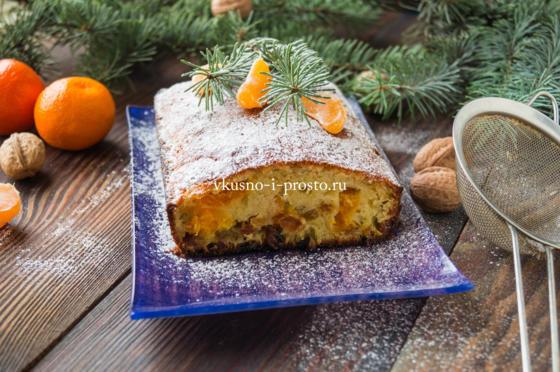 Рождественский кекс с изюмом и мандаринами