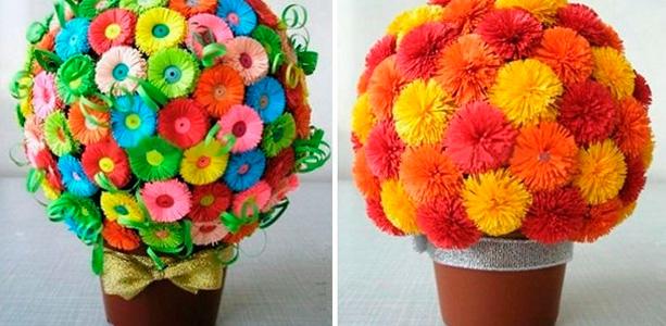 Цветы из бумаги в горшке своими руками из бумаги