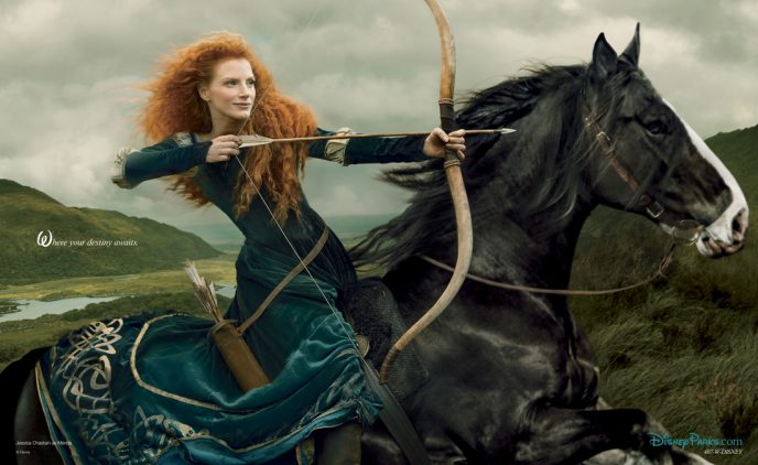 WHERE YOUR DESTINY AWAITS -- In a new image by acclaimed photographer Annie Leibovitz unveiled today by Disney Parks, Jessica Chastain stars as the adventurous princess, Merida, from 'Brave.' The newest 'Disney Dream Portrait' from Leibovitz was commissioned by Disney Parks for their ongoing celebrity advertising campaign which debuted in 2007. The image, which will appear in the February issue of 'O - The Oprah Magazine,' is entitled, 'Where your destiny awaits.' (Annie Leibovitz for Disney Parks)